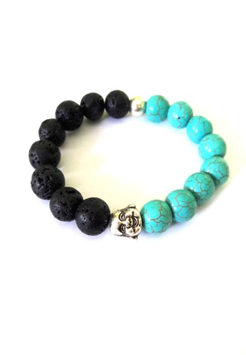 Be Lucky Charms black and blue Feng Shui Turquoise Lava Stone with Laughing Buddha Bracelet BE436AC54EEBPH_1