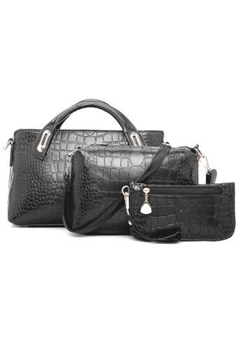 Jackbox black Set of 3 Artificial Crocodile Leather Handbag Tote Bag 902 (Black) JA762AC17KPMMY_1