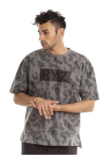 RYZ black RYZ Script Logo Print Black Short Sleeve Sweat T-Shirt. 522E2AAAB66DF3GS_1
