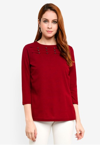 peace collections red Cut Out Blouse 1EA13AAEC542A9GS_1