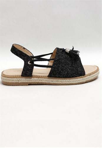 Crystal Korea Fashion black Korean-made Summer Fabric Leather Flat Sandals 1F78DSH397FFE5GS_1