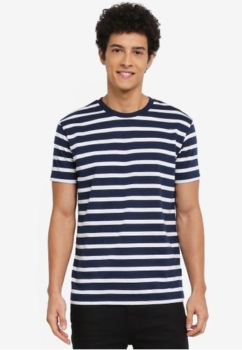 Penshoppe blue and navy Striped T-Shirt 8FD2EAA4F7F45CGS_1