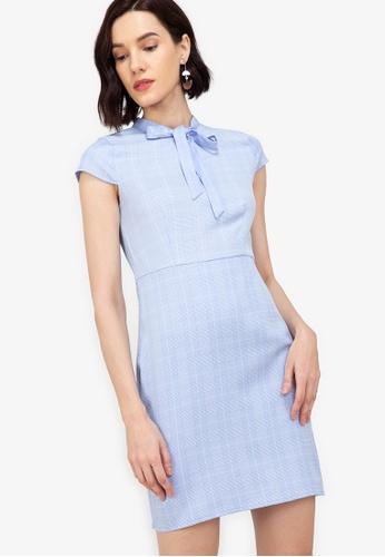 ZALORA WORK multi Tie Neck Cap Sleeve Dress 47529AAF4E2C50GS_1