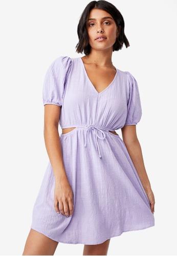 Cotton On purple Woven Dixie Cotton Cut Out Mini Dress 45BBEAAF820E8AGS_1
