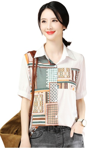 A-IN GIRLS white and multi Ethnic Print Shirt 1D32BAA68155C0GS_1
