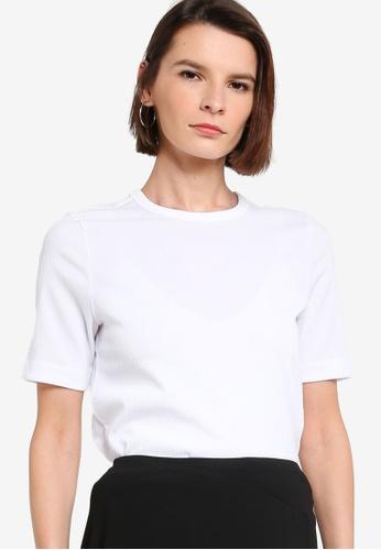 ck Calvin Klein white MICRO TEXTURE CREPE TOP CE386AA46D358DGS_1