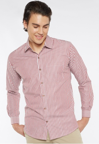 Août white and red Août Singapore - Mens Long Sleeved Cotton Striped Shirt - Alexis A329AAA903E4E4GS_1