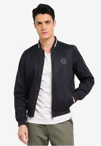 Jack Wills black Rame Cotton Bomber Jacket C9D17AAE6202E0GS_1