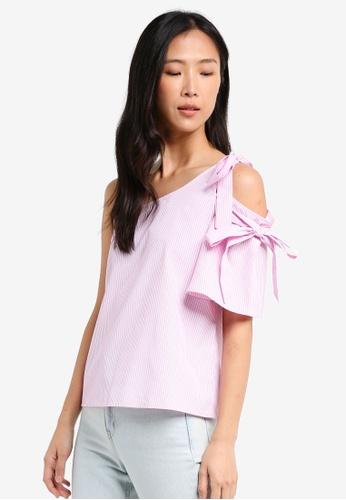 ZALORA pink One Shoulder Top With Ties 79659AABF46CCFGS_1