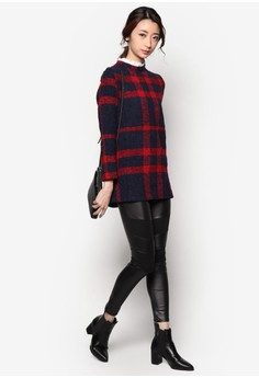 Plaid Top With Ruffle Collar