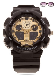 Chronograph Watch With Free Sunglasses JC-H1145K-GB-06