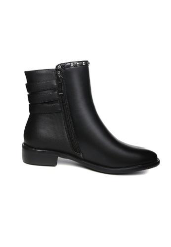 Lara 黑色 鉚釘真皮馬丁靴低跟短靴 FA16DSHE18B589GS_1