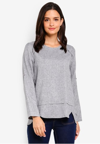 peace collections grey Panel Blouse 87731AA1A49CAEGS_1