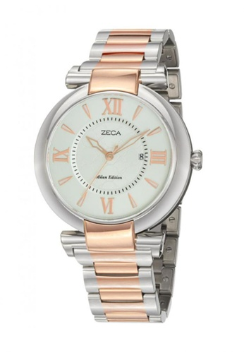 ZECA pink and silver and gold Zeca Watches Ladies Fashion Stainless Steel Analog - 100L Silver Rosegold ZE260AC69SHQSG_1
