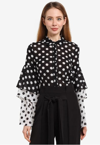 LOST INK black Layered Frill Fabric Mix Polka Dot Shirt 2D799AA83BE35AGS_1