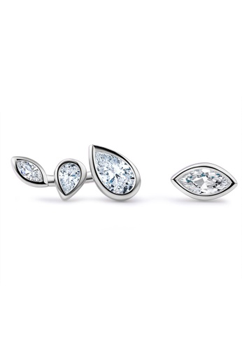 LYCKA silver LFF5217-LYCKA-S925 Siliver White Zircon Irregular Leaf Earrings-Silver 1E151ACCD1DF57GS_1