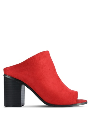 Something Borrowed red Suede Block Heel Mules 7F4BFSHA77589BGS_1