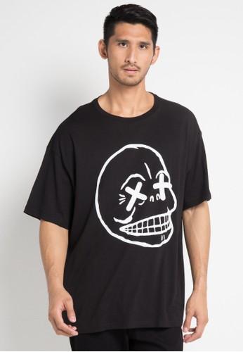 Cheap Monday black and multi Squad Tee Faint Skull F495AAA20B3721GS_1