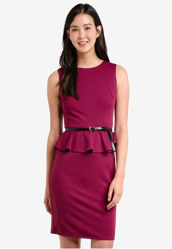ZALORA purple Peplum Fitted Dress F0442AAC5EC807GS_1