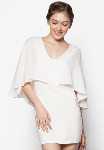 層次蓋袖披zalora 折扣碼肩V 領洋裝, 服飾, 洋裝