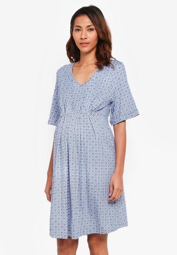 JoJo Maman Bébé blue Maternity Geo Kimono Tunic Dress 9001CAA2EA49E7GS_1