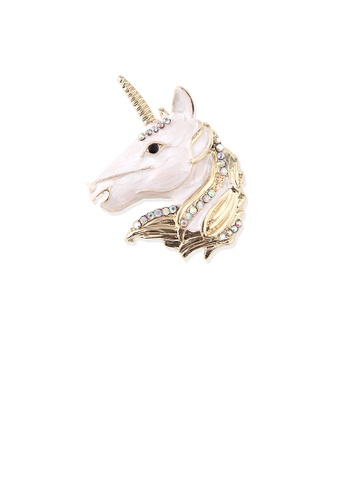 Glamorousky white Fashion Creative Plated Gold Unicorn Brooch with Cubic Zirconia 4A33AAC4298664GS_1