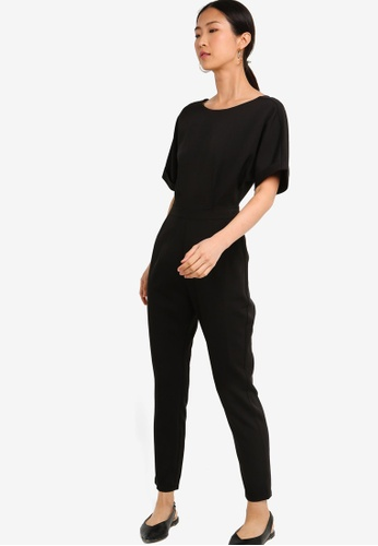 ZALORA BASICS black Basic Drop Shoulder Jumpsuit 22E59AA9771102GS_1