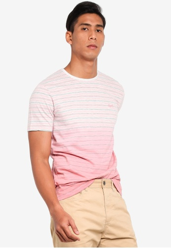 ESPRIT 粉紅色 條紋刺繡T恤 5D176AA92D8816GS_1