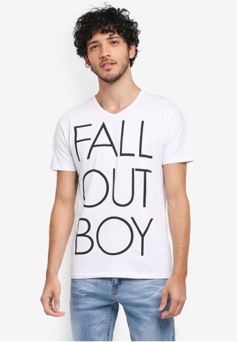 Fidelio 白色 美式休閒V領印花T恤 D206EAA9EC494EGS_1