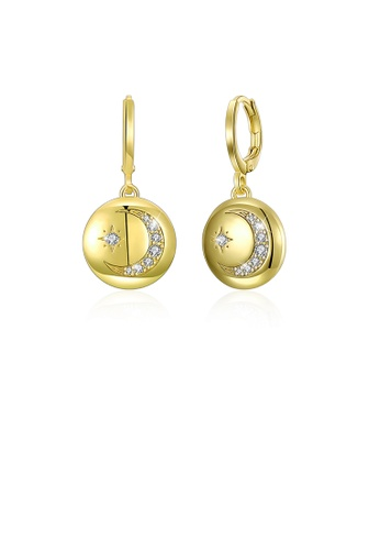 Glamorousky white Fashion Plated Gold Star Moon Round Earrings with Austrian Element Crystal 65375AC029213EGS_1