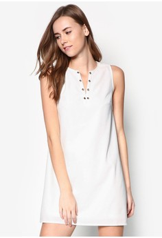 Eyelet Neckline A-Line Dress