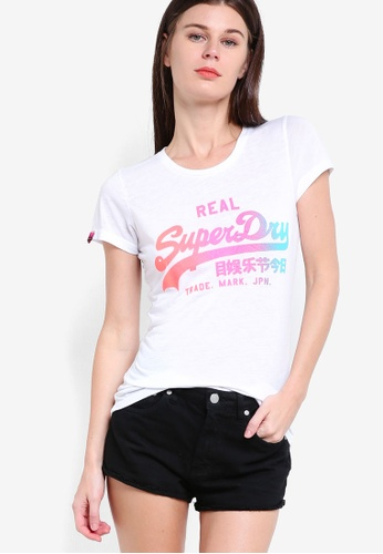 Superdry white Vintage Logo Burn Out Tee SU137AA45HQKMY_1