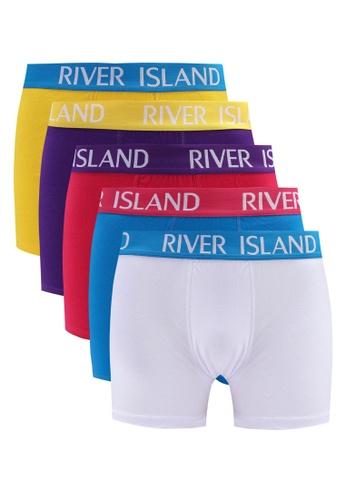 River Island pink PLAIN BRIGHTS TRUNKS 5PP 7434FUS90529C2GS_1