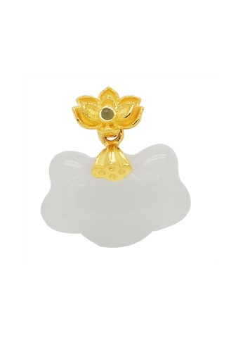 LITZ white and gold LITZ 999 (24K) Gold and Jade Flower Pendant 93A12ACD6374F0GS_1