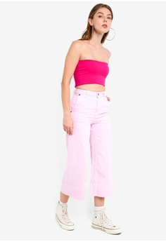 5b2f89b921a3 60% OFF TOPSHOP Moto Striped Cropped Wide Leg Jeans S  89.90 NOW S  35.90  Sizes 26S 28S
