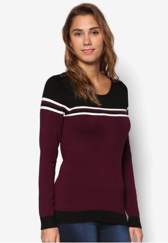 撞色條紋長袖織衫,zalora taiwan 時尚購物網鞋子 服飾, 服飾
