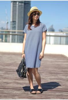 shutUP Tees Navy Blue Stripe T-shirt Dress