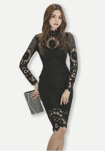 Sunnydaysweety black Black High Neck Lace Suit Dress UA102309-0 C585EAAD707189GS_1