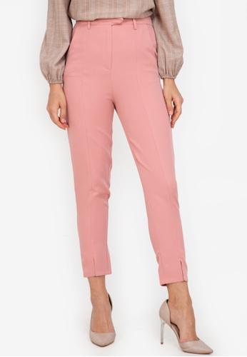 ZALORA WORK pink Front Slit Pants 8853FAA1492145GS_1
