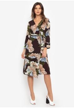 1f37494c4a8 Chloe Edit brown and green Hyacinth Wrap Dress 70E45AA5595086GS_1