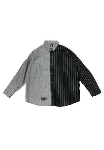 L.I.M.I.T.E black Men's Oversize Strip Shirt E07DFAAF4A62F1GS_1
