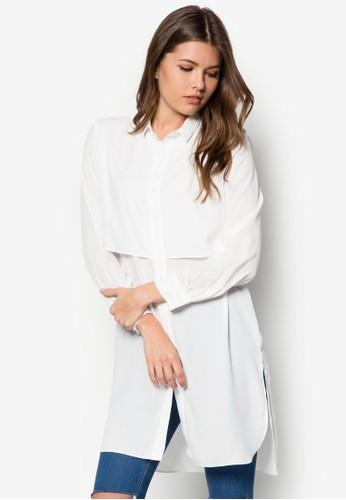 層次長版長袖上衣,mango門市 服飾, 服飾