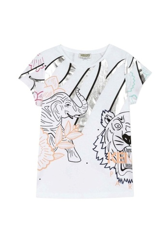 KENZO KIDS black and white and pink and multi and silver KENZO GIRLS T-SHIRT 7C65FKAF0A763EGS_1