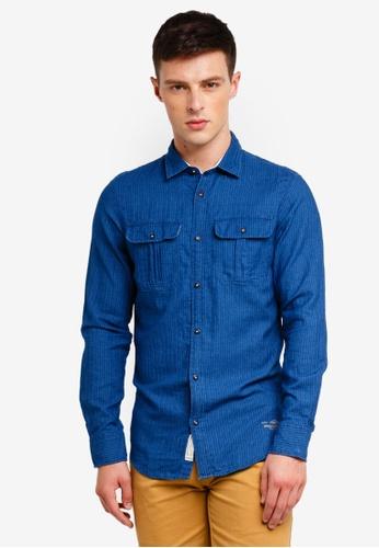 Jack & Jones 海軍藍色 長袖條紋襯衫 08E57AA7722903GS_1