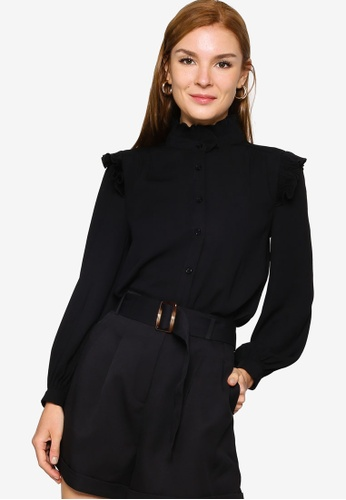 ZALORA WORK black Ruffle Detail Shirt E9226AA897CAA8GS_1