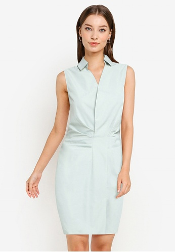 ZALORA WORK green Sleeveless Pleated Detail Sheath Dress 76FF1AA059CDB3GS_1