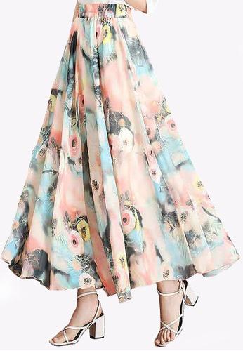 Twenty Eight Shoes orange VANSA Floral Chiffon Long Skirt VCW-Sk1136.1 C1DB1AACC9A01BGS_1