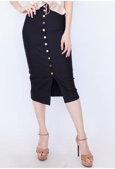 f07b8f62918 Hook Clothing black Button Front Midi Pencil Skirt B0F05AA1E8637EGS 1