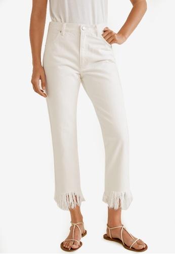 Mango white Cropped Frayed Jeans 406BFAAB42EC06GS_1