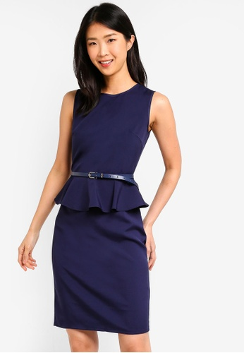 ZALORA BASICS navy Basic Peplum Fitted Dress With Belt 5518DAADFB59EBGS_1